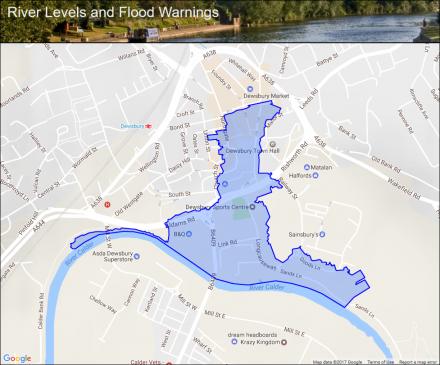 Batley Beck at Dewsbury Flood alerts and warnings the UK River