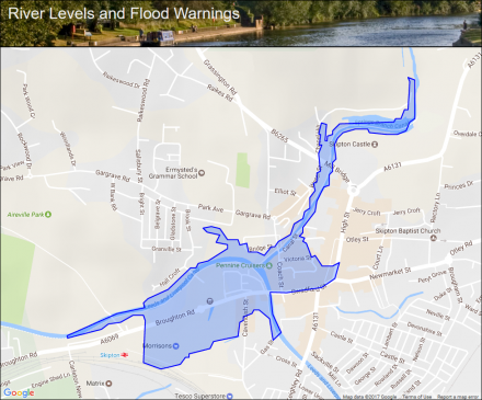 eller beck at central skipton flood alerts and warnings the uk river levels website