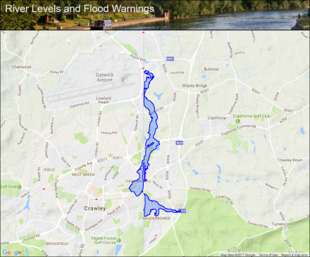 Gatwick Stream at Maidenbower and Crawley Flood alerts and