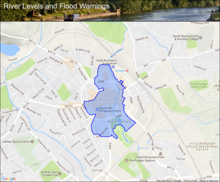 River Anker at Nuneaton Town Centre Flood alerts and warnings