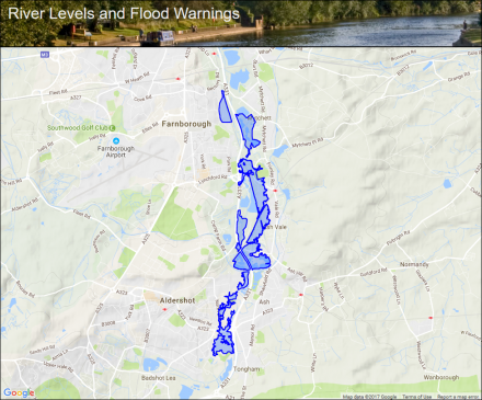 River Blackwater at Aldershot and Farnborough Flood alerts and