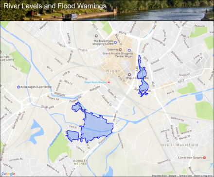 River Douglas at Wigan Area B Flood alerts and warnings the
