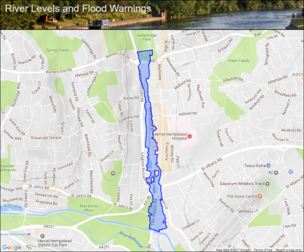 River Gade at Hemel Hempstead Flood alerts and warnings the UK