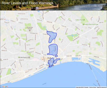 River Hull and Humber Estuary at Hull City Centre Flood alerts