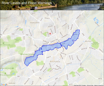 River Roch in Rochdale Flood alerts and warnings the UK River