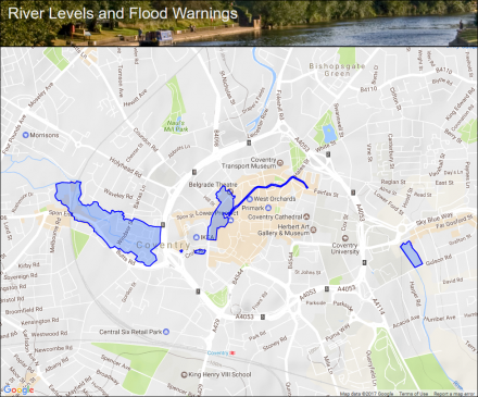 River Sherbourne at Coventry City Centre Flood alerts and