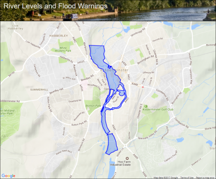 River Stour at Kidderminster Flood alerts and warnings the UK