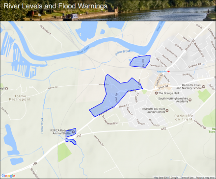River Trent At Radcliffe On Trent Flood Alerts And Warnings - River trent map
