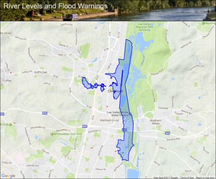 Small River Lee at Cheshunt Flood alerts and warnings the UK